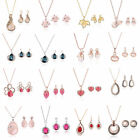Women Wedding Silver Gold Plated Crystal Pendant Necklace Earrings Jewelry Sets