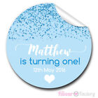 1xA4 Sheet Personalised blue GLITTER 1st Birthday Party bags GLOSSY STICKERS