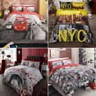 Brooklyn, London Bus, London City & Paris FLower Duvet Quilt Cover + Pillowcase