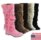 Us Ladies Womens Fashion Suede Slouchy Boho Fringe Mid Calf Boots Shoes Casual