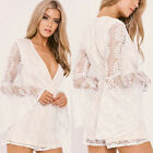Sexy Women Lace Deep V Collar Long Sleeves Hollow Bodycon Jumpsuit Clubwear