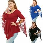 Women Plus Size Casual V-Neck Long Trumpet Sleeve Asymmetrical Tunic TXSU