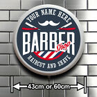BARBER SHOP ROUND LED ILLUMINATED SIGN HAIRDRESSING WALL MOUNTED LIGHT BOX