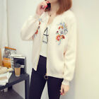Autumn Women's Embroidery Floral Sweater Coat Knit Cardigan Fit 95-140 pounds