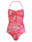 MARKS & SPENCER'S LIMITED EDITION CORAL MIX  PRINT BANDEAU SWIMSUIT SIZE 8