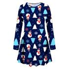 New Girls Kid Reindeer Bow Standing Santa Elf Snowman Xmas Christmas Swing Dress