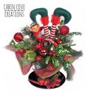 Christmas Floral Arrangement Elf Centerpiece Fun Uniquie Red Lime