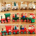 Christmas Cartoons Wooden Four Small Train Decor Fistival Kids Trains Gifts YU