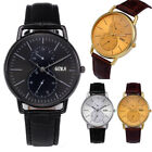 Classic Men's Boy Leather Band Stainless Steel Quartz Casual Sports Wrist Watch