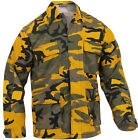 Mens Yellow Camouflage Military BDU Shirt Tactical Uniform Army Coat Fatigues