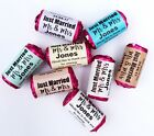 CUSTOM PERSONALISED COLOURED WEDDING FAVOUR LOVE HEART SWEET STICKERS LABELS