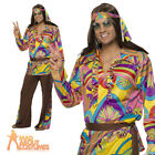 60s 70s Psychedelic Hippy Man Costume Mens Hippie Fancy Dress Stag Outfit