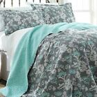 Twin Full Queen King Bed Aqua Blue Gray Floral 3 pc Cotton Quilt Coverlet Set image