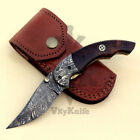 Handmade Damascus Steel Folding Pockrt knife - Liner Lock - 8 inches  vk0070