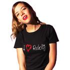 I LOVE RUDOLPH Ladies Fitted T Shirt Christmas CRYSTAL DESIGN  (all sizes)
