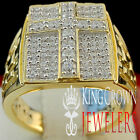 MENS 10K YELLOW GOLD ON REAL SILVER DIAMOND SIMULATE JESUS CROSS PINKY RING BAND