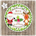 CHRISTMAS SANTA RUDOLPH HOLLY PERSONALISED ROUND GLOSS STICKERS X12