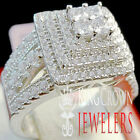 Engagement Band Ladies Wedding Bridal Ring Diamond 14K White Gold On Real Silver
