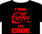Coder T shirt up to 5XL programmer java linux ascii coffee