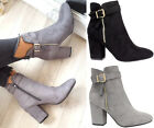 Womens Ladies Block High Mid Heel Ankle Boots Buckle Chelsea Casual Shoes Size