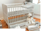 White Baby Cot Bed 140x70 or 120x60cm Cotbed Mattress,Junior Bed optional Drawer