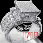 Bridal Engagement Big Square Face White Gold On Silver Ladies Ring Diamond Band