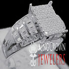 Ladies Baguette Cut Wedding Ring Engagement Womens Diamond Band White Gold Tone