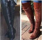 Hot Women Roma Over the Knee Lace Up Thigh High Combat Low Heel Boots Flat Shoes