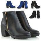 Womens Ankle Boots Platform Ladies Chunky Heel Deco Gold Zip Casual Booties Size