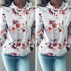 UK STOCK Women Warm Hoodie Sweatshirt Floral Hooded Sweater Coat Jumper Pullover