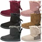 WOMENS ANKLE BOOTS LADIES SNUGG SHOES FUR LINED WINTER SNOW RIBBON BOW SIZE NEW