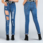 Fashion Women Blue Wash Destroyed Denim Ripped Skinny Jeans Clubwear Casual