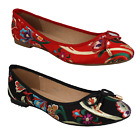 LADIES RED BLACK MULTICOLOURED FLORAL EMBROIDERY BALLERINA SHOES SPOT ON F80292