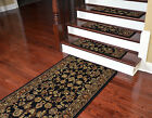 "Dean Premium Carpet Stair Treads and Runner - Elegant Keshan Ebony 31"" W"