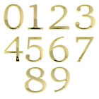 "Polished Brass Metal 4"" Flush House Address Numbers, Bold Readable Font"