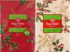 Christmas Holly with Gold Etchings Vinyl Flannel Back Tablecloth Var Color Size