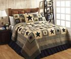 5PC COLONIAL STAR  BLACK & TAN RUSTIC PRIMITIVE QUILT SHAMS SKIRT PILLOW BED SET