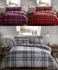 Tartan Check Brushed Cotton Flannelette Duvet Cover Bedding Set Red Grey Purple