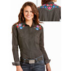 R4S4265 Panhandle Women's Rough Stock Black Western Shirt with Colorful Floral E