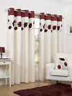 Luxury Faux Silk Ready Made Curtains Cream & Red Poppy Design Ring Top Eyelet