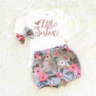 baby sugargliders - US Stock 3PCS Baby Girl Clothes Romper Jumpsuit Bodysuit+Pants Shorts Outfit Set