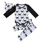 USA Newborn Baby Boys Girl Dog Animal Bodysuit Romper+ Pants Hat Clothes Outfits