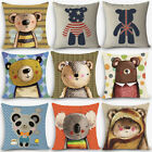 18'' Cute Little Bear Cotton Linen Pillow Case Sofa Cushion Cover Home Decor