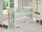 Baby Cot Bed White Colour Wooden Toddler Cot with FREE Deluxe Aloe Vera Mattress