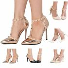 Women's Patent Studded T-Bar Strappy Court Heels High Sandals Rose Gold