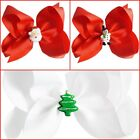Christmas Red White Santa Snowman Tree Hair Bow 5""