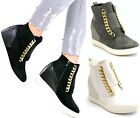 Womens Ladies Hidden Wedge Trainers High Top Sneakers Ankle Boots Shoes Size
