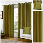 Ready Made Green Luxury Faux Silk Lined Eyelet Ring Top Curtain Pair Living