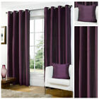 Ready Made Aubergine Luxury Faux Silk Lined Eyelet Ring Top Curtain Pair Living