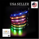 All Sizes Flashing Led Dog Collar USB Rechargeable Red Blue Orange Green